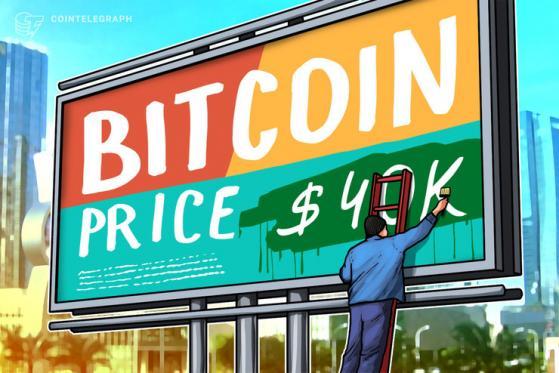 Bitcoin prova a superare la resistenza a 40.000$ per la seconda volta in due giorni